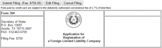 File a Foreign LLC in Texas Step 15